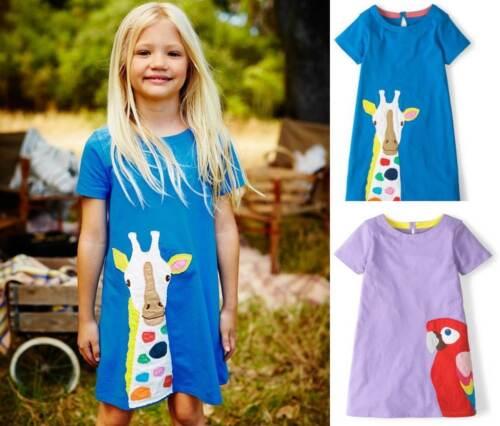Mini Boden girls cotton jersey applique dress NEW summer  purple parrot