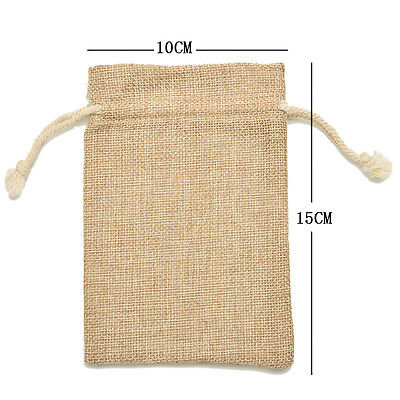 Natural Burlap Linen Jute Vintage Wedding Drawstring Gift Favor Sack Bags lot MA