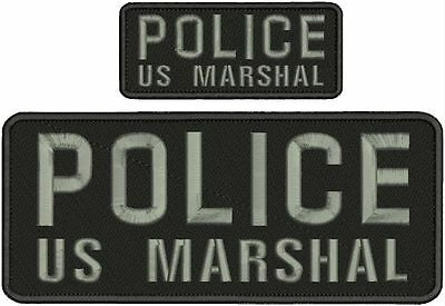 "POLICE US MARSHAL embroidery patches  4x10 and2x5/"" hook on back  and gray"