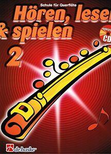 Querfloete-Noten-Schule-Hoeren-lesen-amp-spielen-2-mit-CD-Schule-fuer-Querfloete