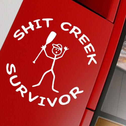 Sh*t Creek Survivor Funny Car Truck Window White Vinyl Decal Sticker Removable