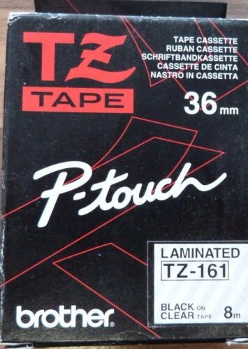 GENUINE BROTHER P~TOUCH TZ161-36MM BLACK ON CLEAR LAMINATED TAPE