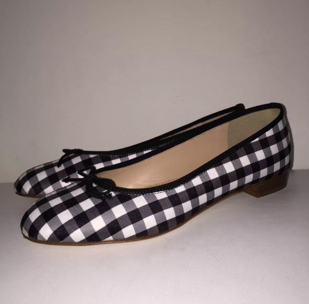 JCREW Kiki ballet flats in gingham 6 shoes black white shoes e8462
