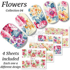 4x Full Cover Nail Water Stickers Wraps Transfers Vintage Roses Flowers BN064