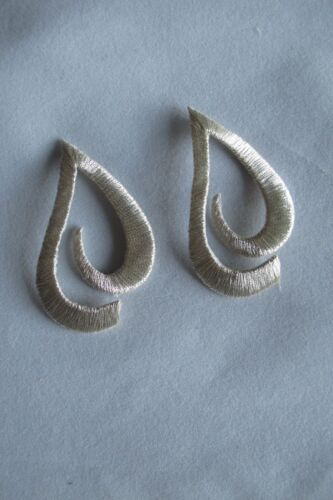 #3453 Lot 2Pcs Gold,Silver Trim Fringe Water Drop Embroidery Applique Patch