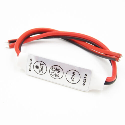 Mini 12V LED Strip Light Dimmer Controller with On Off Switch for 3528 5050