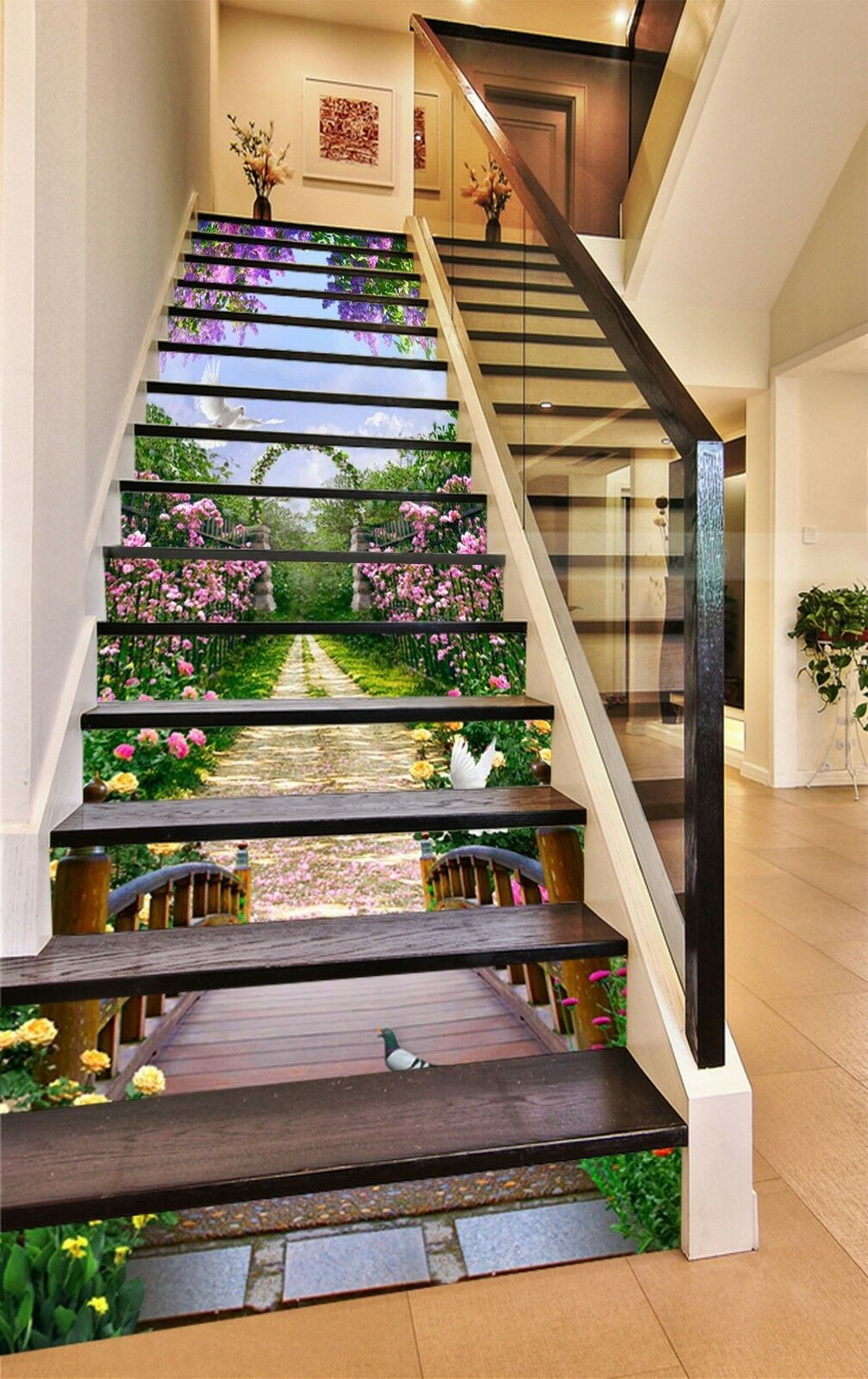 3D Garden Road Stair Risers Decoration Photo Mural Vinyl Decal Wallpaper AU