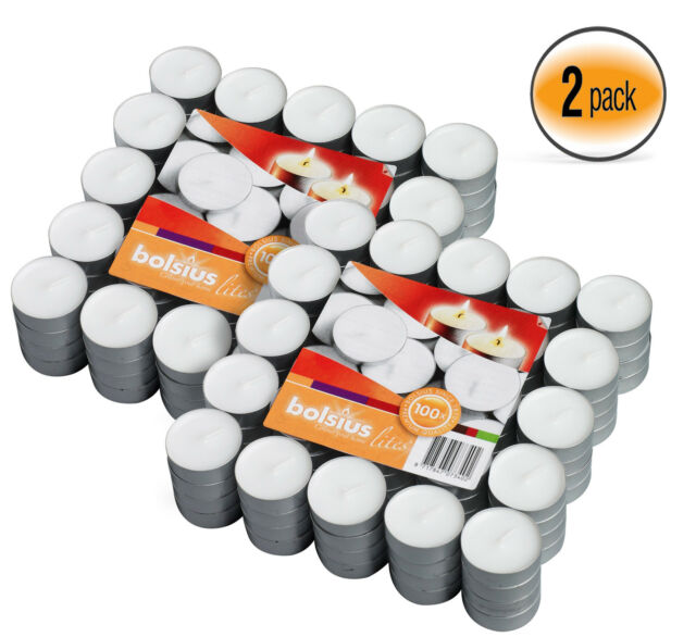 By Bolsius 3.5 Hr Tea light Candles White Unscented Set Of 300 Burns Aprx