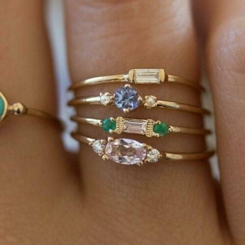 Women Charm Inlaid Crystal Rings Wedding Party Bridal Rings Jewelry Gift LC