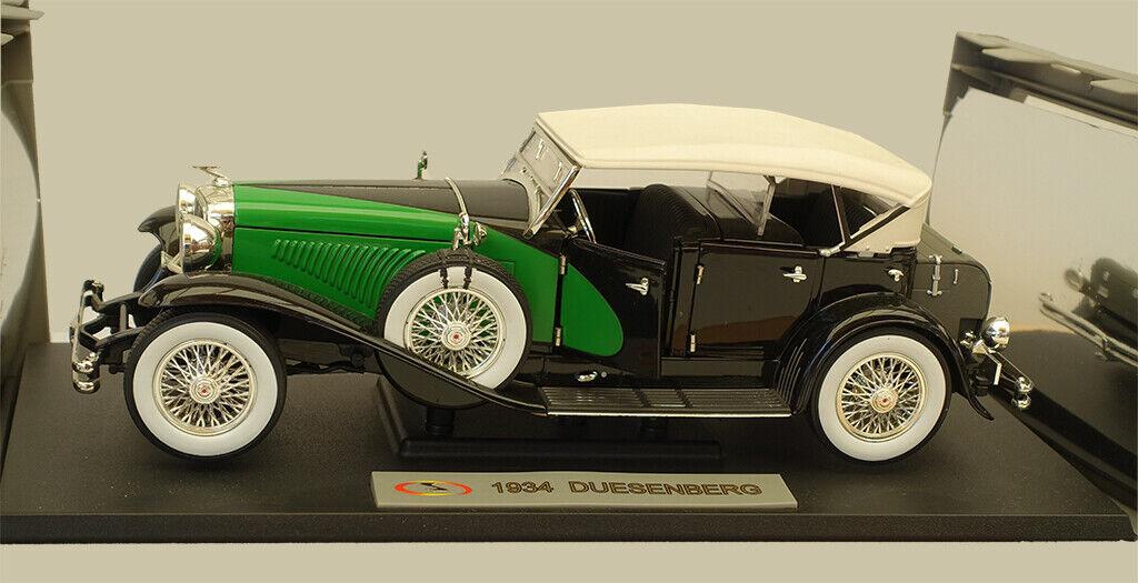 Voiture-miniature Duesenberg 1934 noir et vert Signature Models ™ 1 18