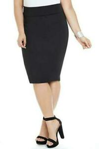 Fashion-To-Figure-Women-039-s-Plus-Size-Super-Scuba-Pencil-Skirt-Black-1X