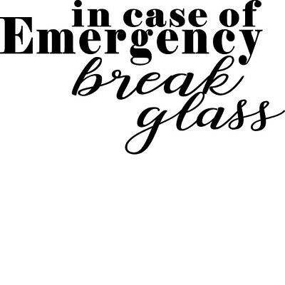 """/""""In case of emergency break glass/"""" vinyl sticker for crafting//DIY home projects"""