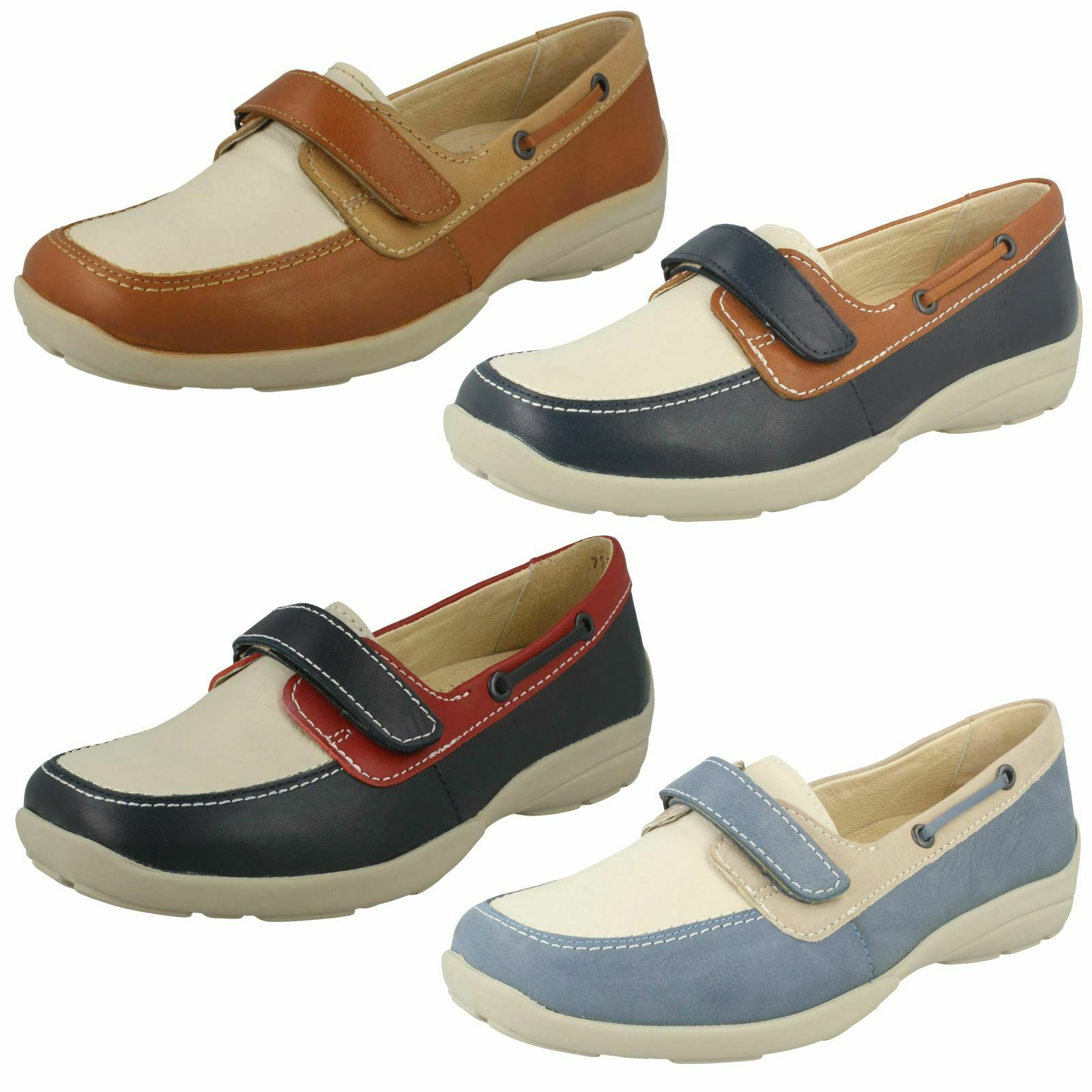 Ladies Easy B Flat Loafer Style Hook And Loop shoes Elizabeth