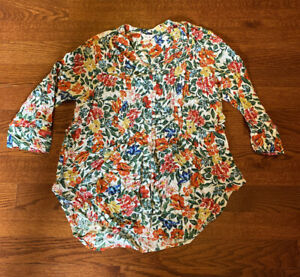 Intro-Bright-Floral-100-Rayon-Long-Sleeve-Top-Blouse-Women-039-s-Size-Medium