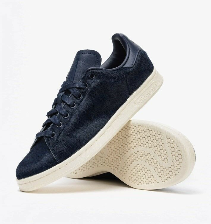 ADIDAS originale STAN SMITH PONY HAIR NAVY Blau herren TRAINNERS UK Größe 6 - 9.5