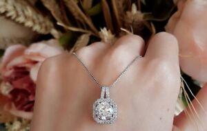 2-Ct-Round-Cut-Diamond-Wedding-Engagement-Pendant-amp-Chain-14k-White-Gold-Over