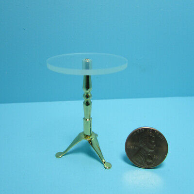 Dollhouse Miniature Side Table with Brass Base and Clear Glass Like Top S1042