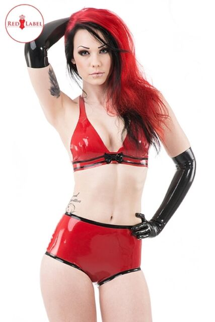R1612 Poppy Rubber Latex High Waisted BRIEFS RED/BLACK Seconds RRP £55.00