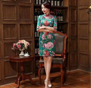 green-Chinese-women-039-s-silk-satin-embroidery-evening-Dress-Cheong-sam-s-xxl