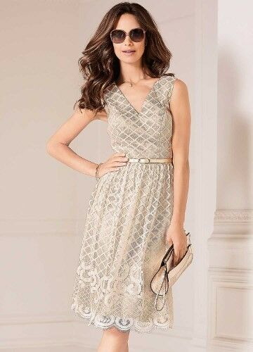 Kaleidoscope Embroidered Mesh A-Line Dress Nude Size UK14 rrp .99 DH089 CC 18