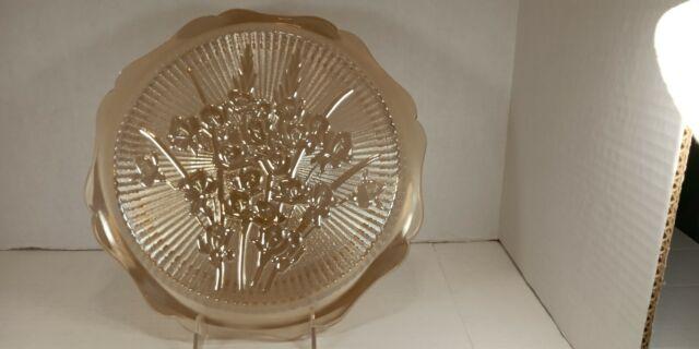 Large Vintage Marigold Amber Carnival Glass Plate Flower Floral Pattern 12 In