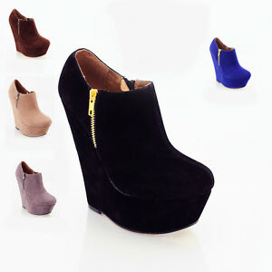 WOMENS LADIES BLACK SUEDE PLATFORM HIGH HEEL WEDGE ANKLE SHOES ...