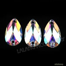 100x Flatback Embellishment Colorful AB Teardrop Sew-on Charms Button 18mm BS