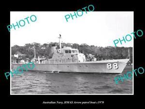 OLD-8x6-HISTORIC-PHOTO-OF-AUSTRALIAN-NAVY-HMAS-ARROW-PATROL-BOAT-c1970
