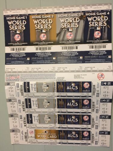 2017 NY Yankees 2017 Playoff Ticket Sheet Twins Indians /& Astros