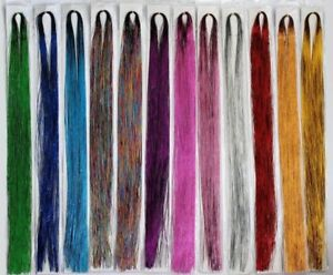 100-Strands-Holographic-Sparkle-Hair-Tinsel-Extensions-Dazzles-44-034-14-Colours