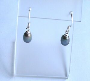 Image Is Loading 925 Sterling Silver Freshwater Black Pearl Drop Earrings