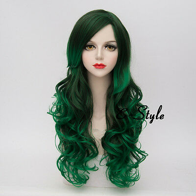 Lolita 65CM Mixed Green Long Curly Fashion Women Ombre Cosplay Party Wig