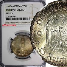 Germany - Third Reich Silver 1935-A 5 Reichsmark NGC MS63 Potsdam Church KM# 83