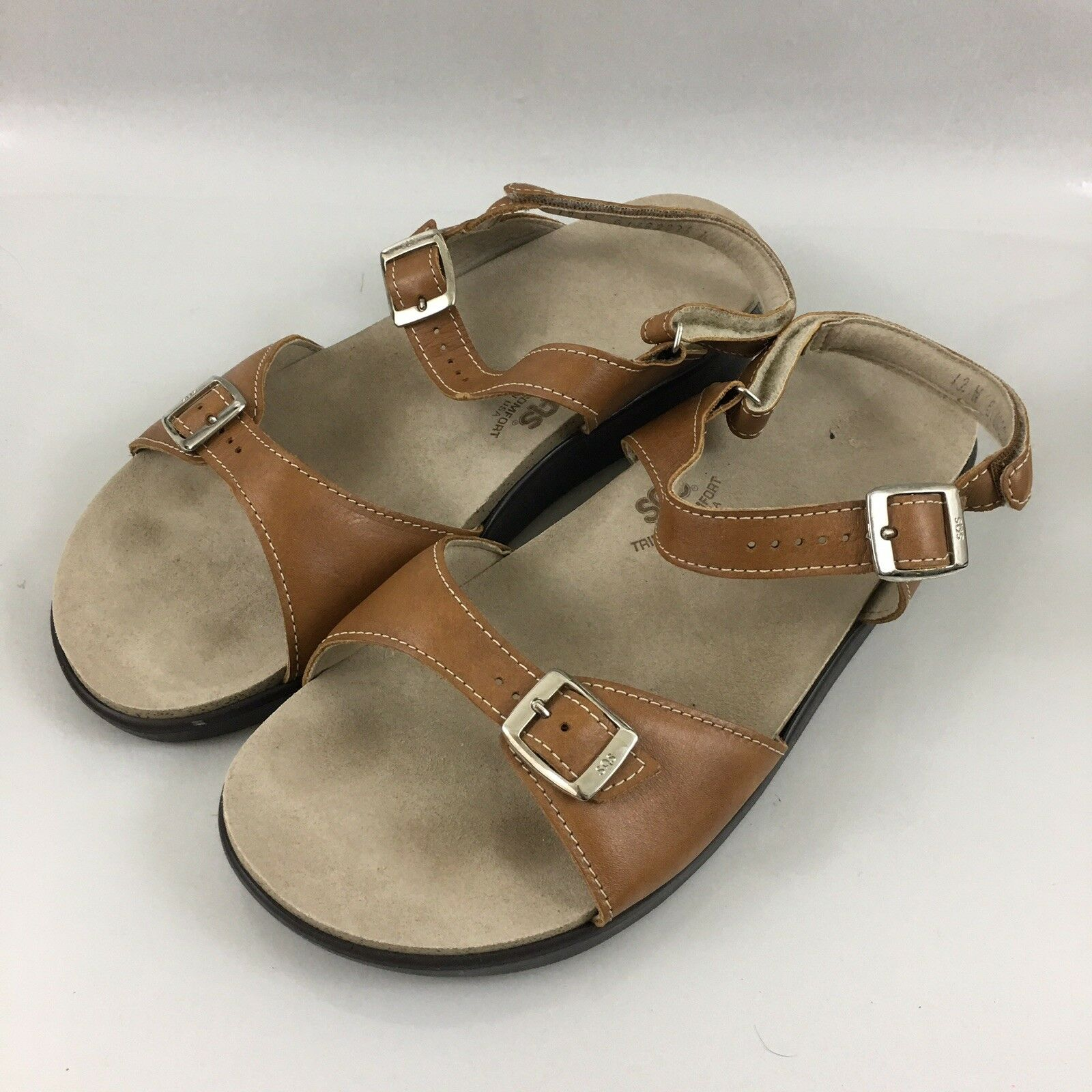 SAS Tripad Comfort Sandals Caramel Leather shoes 12 Wide 12 W