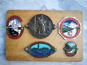 Collection-of-5-Antique-Vintage-Enamel-Travel-Memorabilia-Metal-Badges