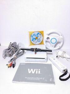 Nintendo Wii Console Lot w/ Mario Kart & Steering Wheel System Bundle W/Manual