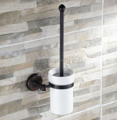 Black Oil Rubbed Brass Wall-mounted Toilet Brush Holder Brush Included fba119