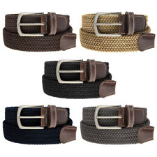 Braided Belt Nickel Finish Buckle Faux Leather Elastic Woven Stretch Mens Womens