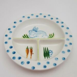 The-Mane-Lion-Italy-Blue-Bunny-Child-039-s-Divided-Plate-Dish