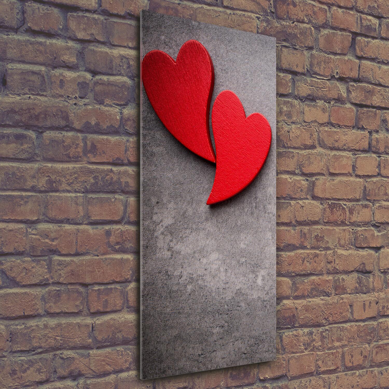 Wandbild Druck auf Plexiglas® Acryl Hochformat 50x125 Rote Herzen