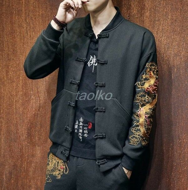 Uomo Dragon 2Pcs Embroidery Stand Collar Chinese Tang suit Frog 2Pcs Dragon Coat Pants Casual e83ed2