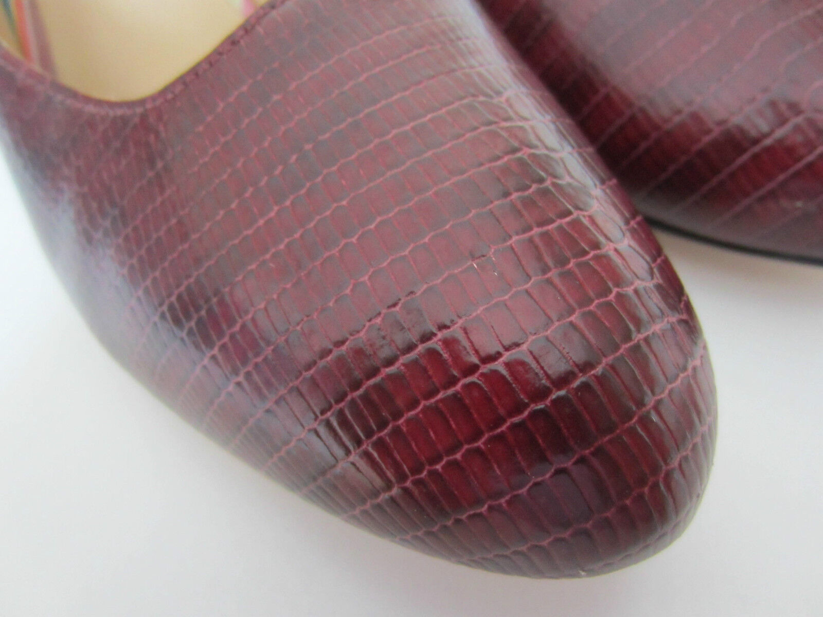 Paul Smith Court Skin Shoes Wine Red Reptile Skin Court ALL LEATHER 3.5