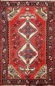 Vintage Geometric Traditional Area Rug Wool Hand-Knotted Oriental 3x5 RED Carpet