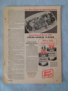1949-Magazine-Advertisement-Page-For-Oscar-Mayer-Canned-Barbecue-Beef-Pork-Ad