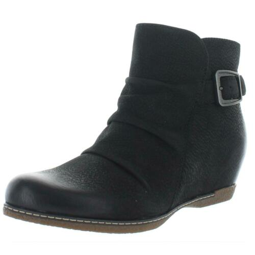 BHFO 0783 Dansko Womens Lia Black Nubuck Ankle Wedge Boots Shoes 36 Medium B,M