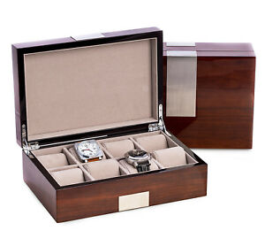 "Eight Watch Wooden Watch Box Mens Gifts ""walnut Wood"" Piano Finish Mild And Mellow"