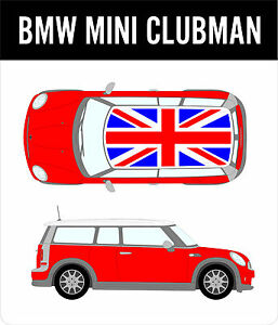 BMW Mini Clubman Union Jack Roof Decal Kit Cooper Racing - Bmw mini roof decals