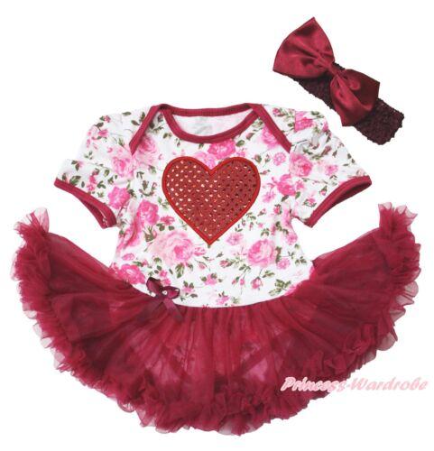 Valentine/'s Day Red Heart Rose Bodysuit Wine Red Skirt Girl Baby Dress NB-18M