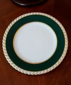 Franconia-Krautheim-FOREST-8-034-Salad-Plate-Green-White-Swirl-Gold-Bavaria-Germany