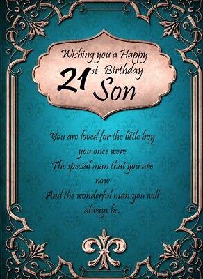 Cool Wishing You A Happy 21St Birthday Son A5 Card Amp A4 Funny Birthday Cards Online Drosicarndamsfinfo